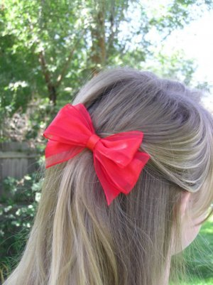 Red Ribbon Hair Bow Barrette