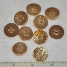 10 Gold Criss Cross Plastic Shank Buttons
