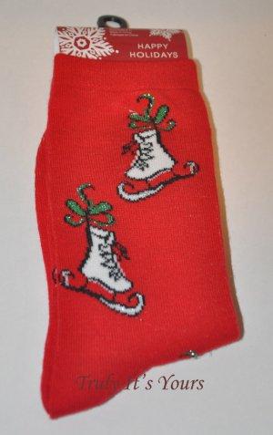 Red Ice Skating Socks - Christmas Stockings