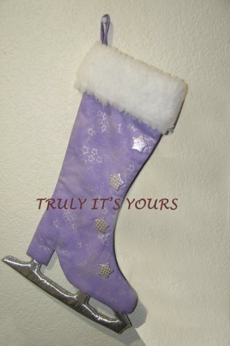 Ice Skate Stocking Wall Hanging Purple and Silver Stocking