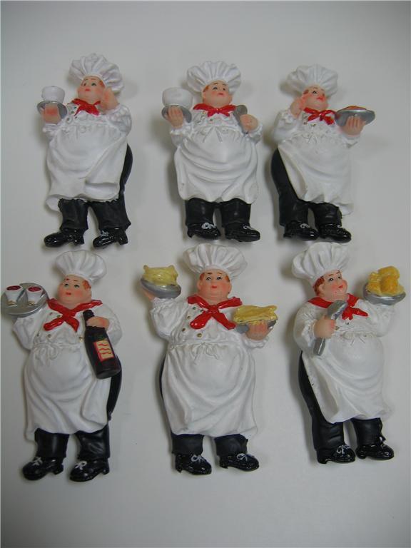 6 Pc Italian Fat Chef Magnets Bistro Kitchen Decor Home