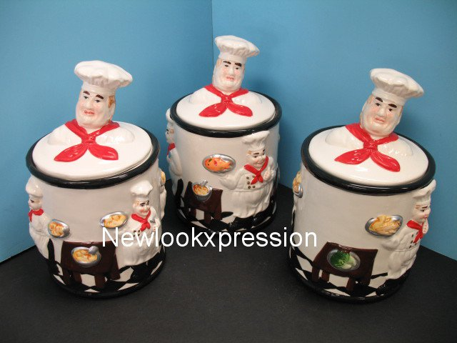 3d Fat Italian Chef Canister Set Canisters Jar Bistro Bar