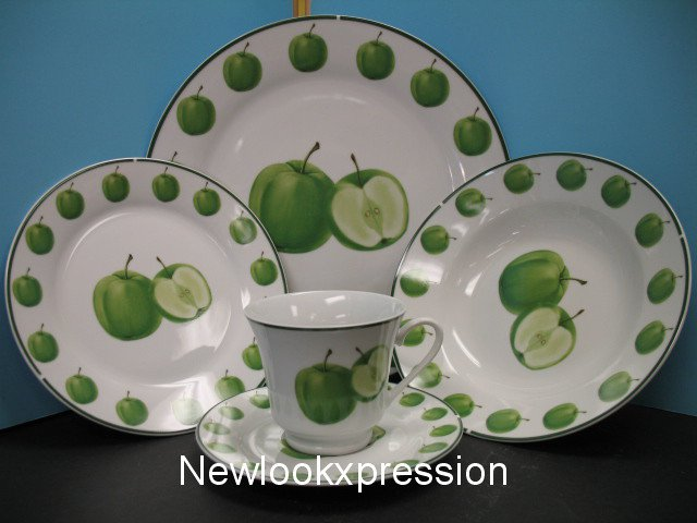 20 Pc Green Apple Dinnerware Plates Dishes Dinner Set Bar
