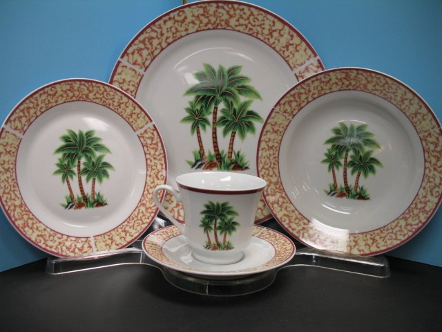 20 Pc Palm Tree Dinnerware Plate Dishes Tropical New Decor