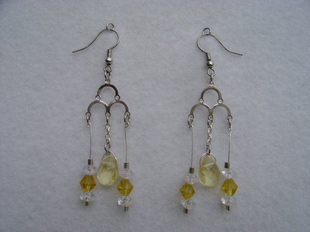 Yellow & White Stone Chandleier earrings