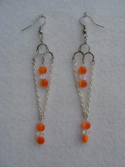Orange Stone Chandelier Earrings