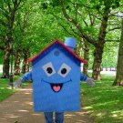 New blue house mascot costume Halloween costume fancy dress free shipping