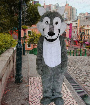 high quality grey wolf mascot costume alex adult size Halloween costume fancy dress free shipping