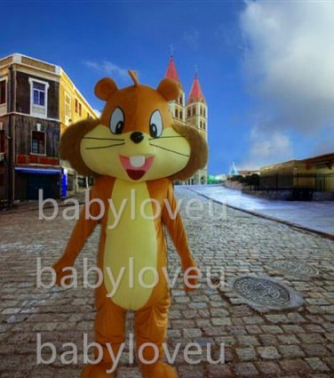 Adult Cartoon Lovely Squirrel Mascot Costume Fancy Dress Free Shipping