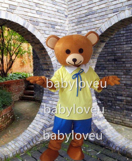 Hot Sale bear Cartoon Mascot Costume Animal Fancy Dress Outfit