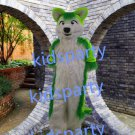 New high quality green fox fursuit mascot costume husky dog mascot Free Shipping