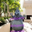 New grey hippo Mascot Costume Mascot Parade Quality Clowns Birthdays Fancy dress party