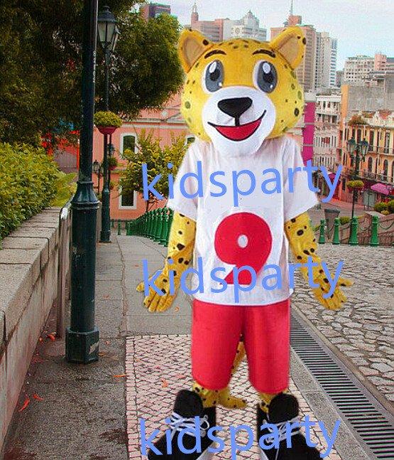 new yellow leopard mascot costumes  fursuit christmas Halloween costume
