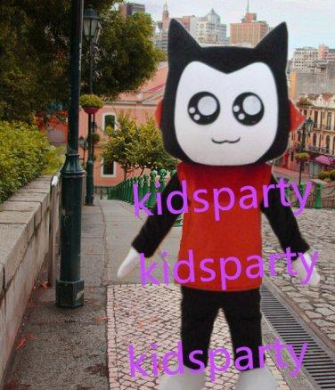 New red suit black cat mascot costumes  fursuit christmas Halloween costume