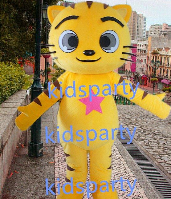 New yellow Cat Mascot Costume Mascot Parade Quality Clowns Birthdays Fancy dress party