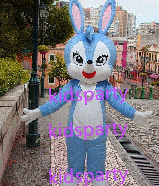 New blue rabbit Mascot Costume Mascot Parade Quality Clowns Birthdays Fancy dress party