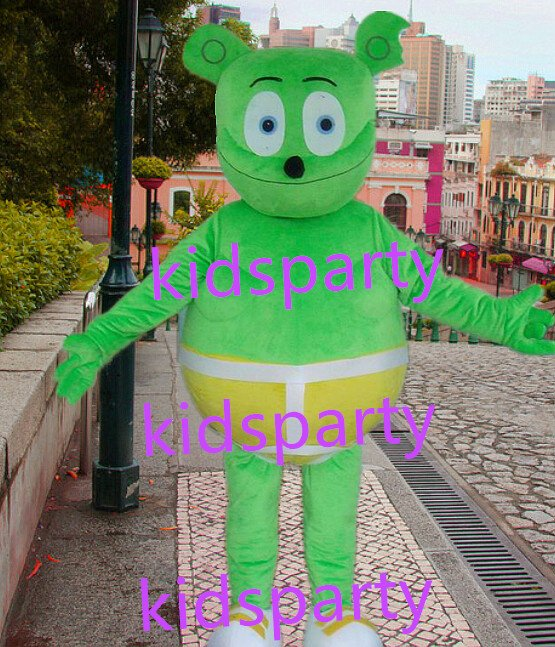 New green bear Mascot Costume Mascot Parade Quality Clowns Birthdays Fancy dress party