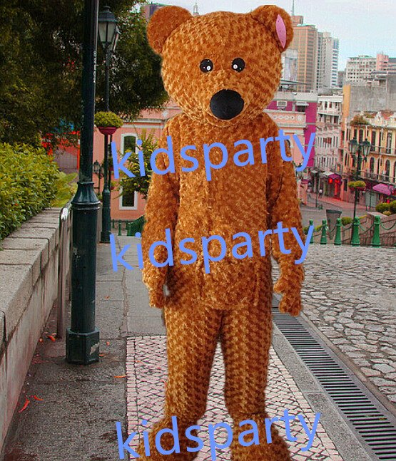 New long plush bear Mascot Costume Mascot Parade Quality Clowns Birthdays Fancy dress party