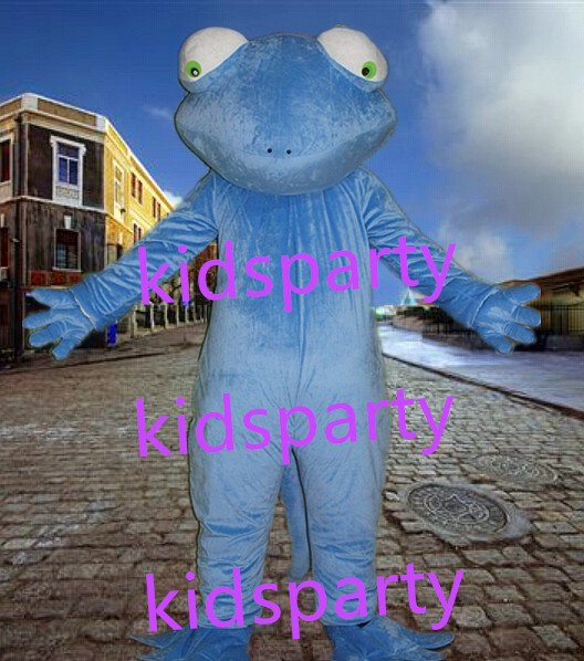 New blue frog Mascot Costume Mascot Parade Quality Clowns Birthdays Fancy dress party