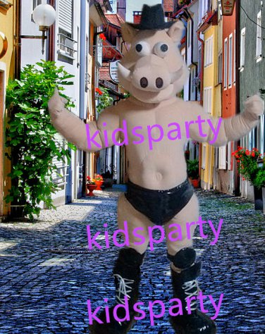 New Muscle pig Mascot Costume Mascot Parade Quality Clowns Birthdays Fancy dress party