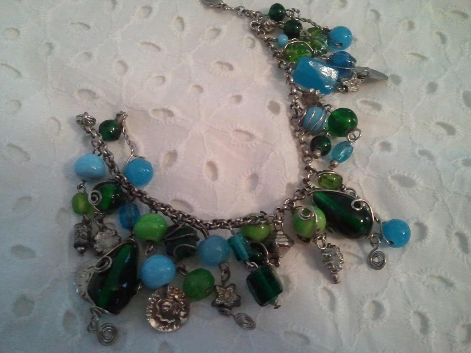 Blue and Green Charms Beaded Silver Handmade Bracelet
