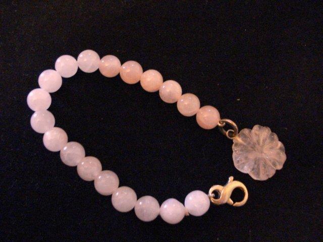 Girls Sterling Silver Pink Quartz 7 in. Bracelet