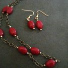 Handmade Genuine Ruby Oval Beads on Brass Chain and Earrings Set