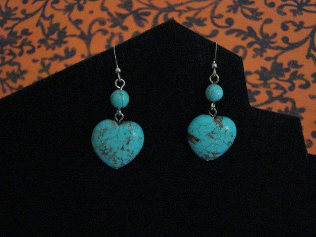 Genuine Turquoise Hearts and Beads Handmade Earrings