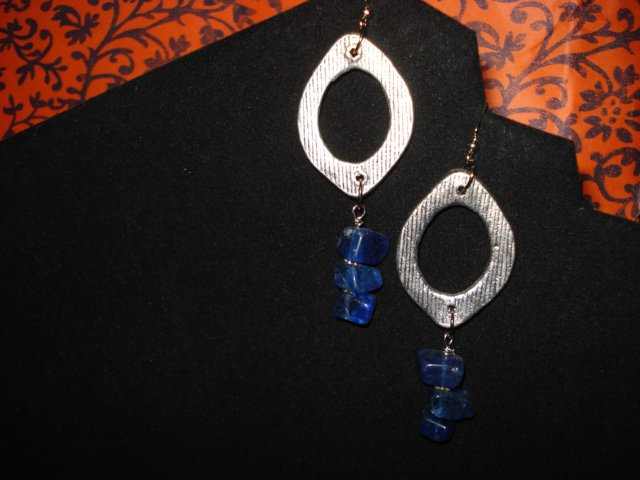 Genuine Blue Quartz Chips and Modern Silver Hoops