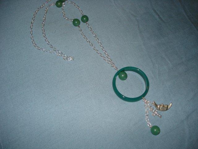 Handmade Genuine Jade Necklace with Silvertone Spiritual Charms