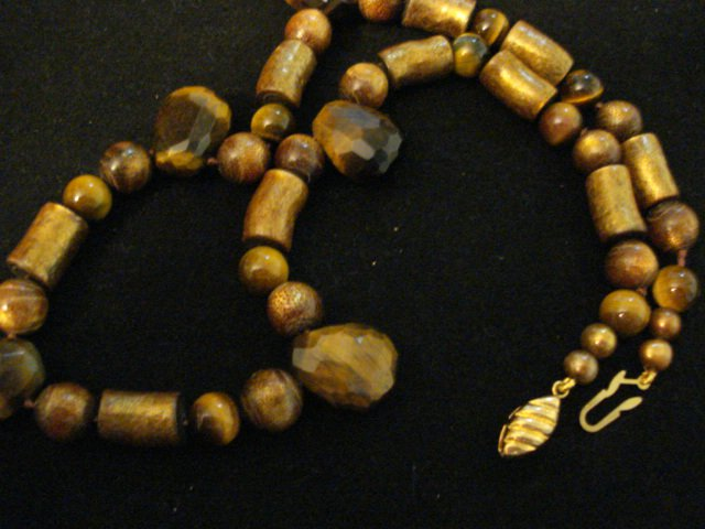 Genuine Tiger Eye Nuggets and Golden Coral Beads Necklace with Vermeil