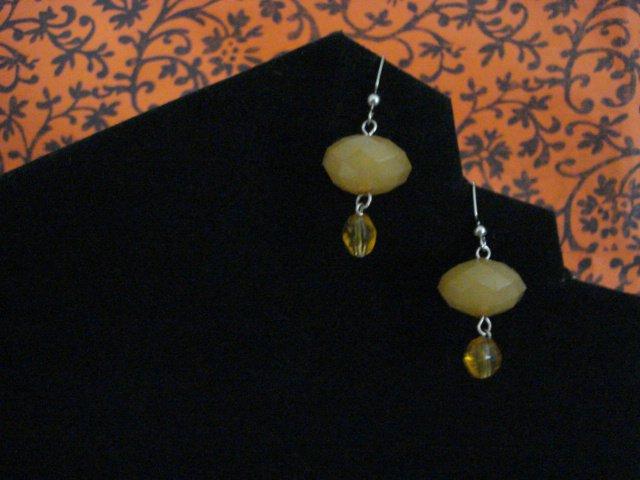 Handmade Earrings of Acrylic Yellow Domed Beads and Yellow Glass Beads