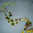 Glass Green, Lavender, Yellow Beads and Natural Stone Pendant Necklace