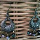 Genuine Black, Cloisonne Beads and Burnt Copper  Earrings