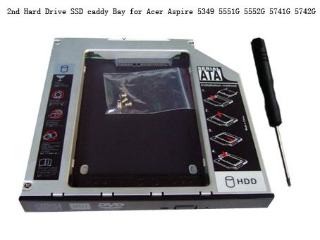 2nd Hard Drive SSD caddy Bay for Acer Aspire 5349 5551G 5552G 5741G 5742G 7551G