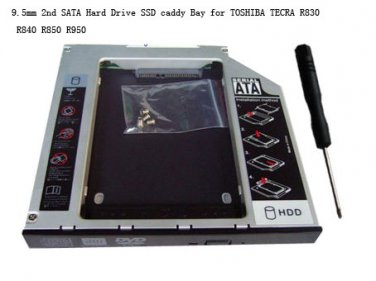 9.5mm 2nd SATA Hard Drive SSD caddy Bay for TOSHIBA TECRA R830 R840 R850 R950