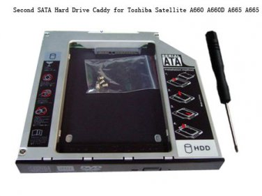 Second SATA Hard Drive Caddy for Toshiba Satellite A660 A660D A665 A665