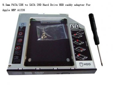 9.5mm PATA/IDE to SATA 2ND Hard Drive HDD caddy adapter For Apple MBP A1226