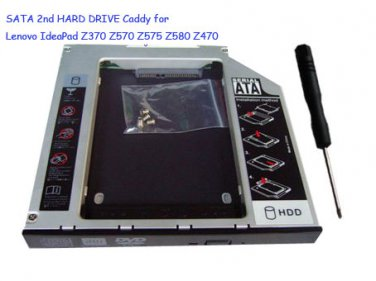 SATA 2nd HARD DRIVE Caddy for Lenovo IdeaPad Z370 Z570 Z575 Z580 Z470