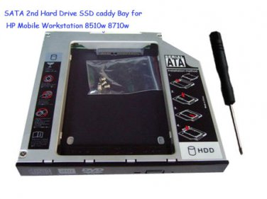SATA 2nd Hard Drive SSD caddy Bay for HP Mobile Workstation 8510w 8710w