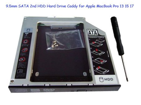9.5mm SATA 2nd HDD Hard Drive Caddy for Apple MacBook Pro 13 15 17