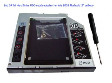 "2nd SATA Hard Drive HDD caddy adapter for late 2008 Macbook 13"" unibody"