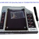 SATA 2nd HARD DRIVE SSD Optical Bay Caddy for TOSHIBA P750 P755 P770 P505