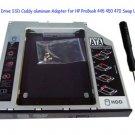 2nd Hard Drive SSD Caddy aluminum Adapter for HP ProBook 445 450 470 Swap UJ8C2