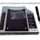 2nd SATA Hard Drive SSD Caddy Optical Bay for Dell Latitude E5400 E5500 E5510