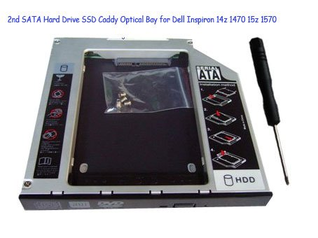 2nd SATA Hard Drive SSD Caddy Optical Bay for Dell Inspiron 14z 1470 15z 1570