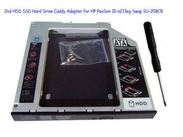 2nd HDD SSD Hard Drive Caddy Adapter for HP Pavilion 15-n213eg Swap SU-208CB