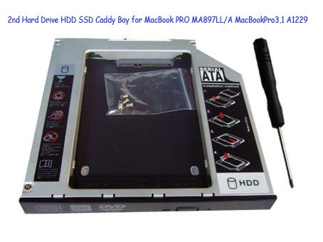 2nd Hard Drive HDD SSD Caddy Bay for MacBook PRO MA897LL/A MacBookPro3,1 A1229
