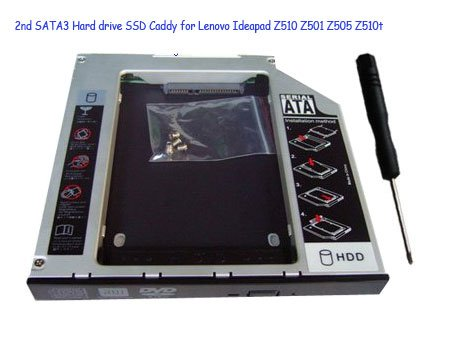 2nd SATA3 Hard drive SSD Caddy for Lenovo Ideapad Z510 Z501 Z505 Z510t