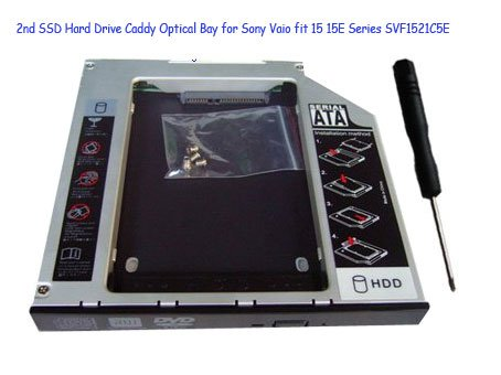 2nd SSD Hard Drive Caddy Optical Bay for Sony Vaio fit 15 15E Series SVF1521C5E